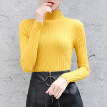 2019 Winter New Fashion Women Ladies Turtleneck Soft Thin Sweater Femme Pull Tight Casual Knit Jumper Clothes свитер женский цена