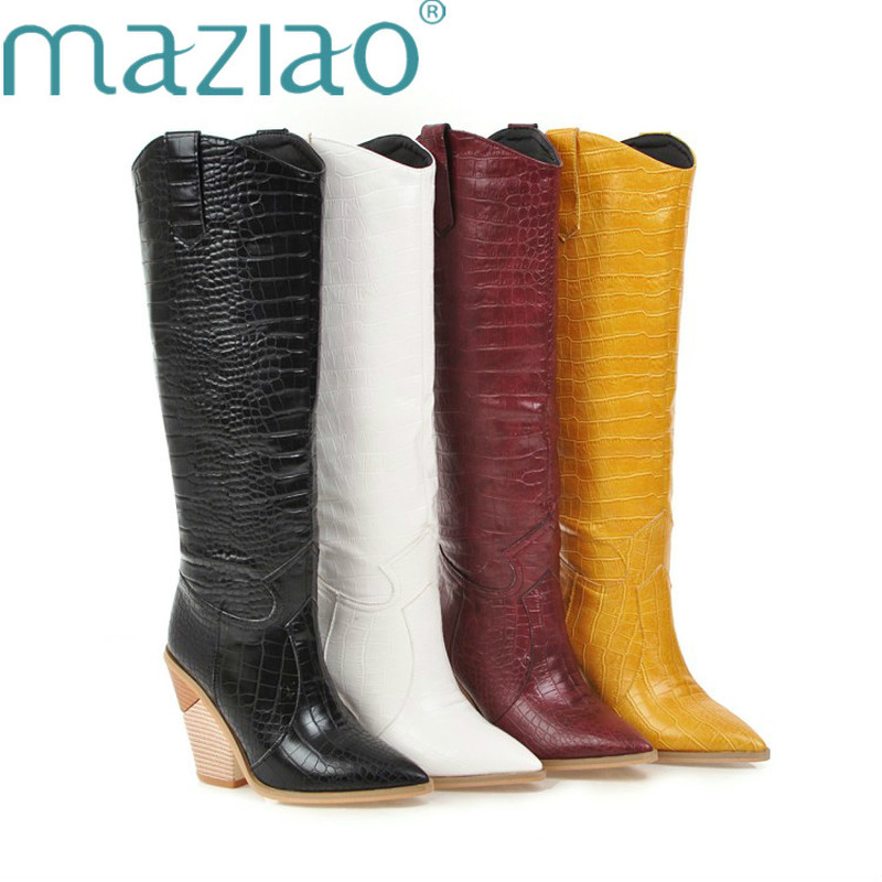 Black Yellow White Knee High Boots Western Cowboy Boots for Women Long Winter Boots Pointed Toe Cowgirl wedges Motorcycle Boots