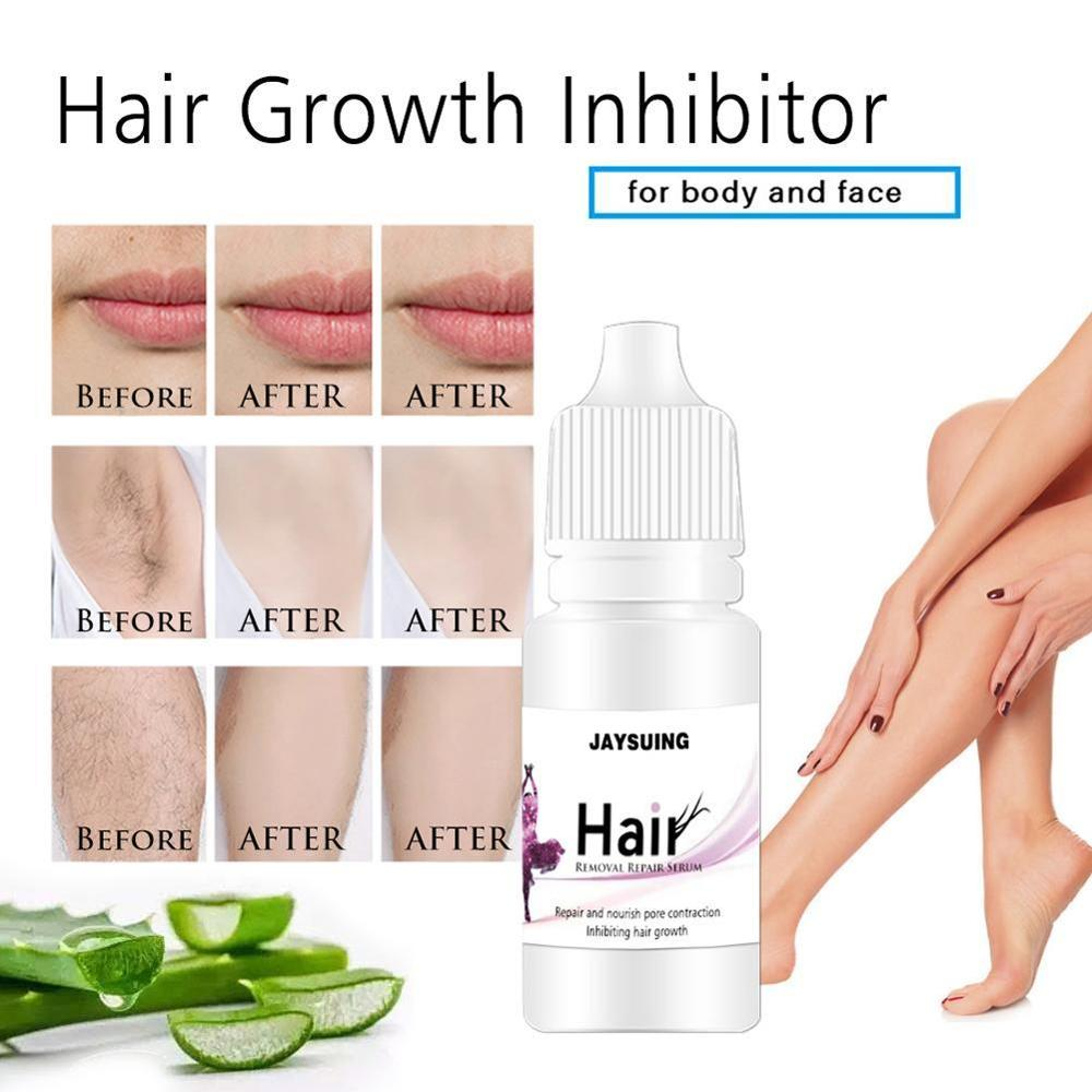 10ml Painless Hair Removal Stop Hair Growth Inhibitor Shrink Pores Skin Smooth Repair Essence Effective Removal Repair Nourish