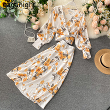 Gaganight Flora Fashion Women Two Pieces Set Long Sleeve Blouse Elastic waist Long Skirt Lady Suit Holiday 2 Pieces Set Korean cheap Short Mid-Calf Ages 18-35 Years Old V-Neck Polyester Pullover Office Lady REGULAR Full Button Floral