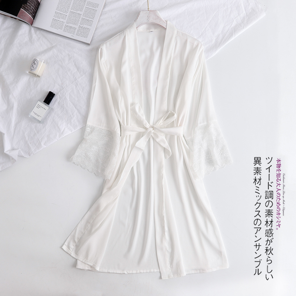 White Women Robe Bride Wedding Kimono Bathrobe Gown With Lace Long Sleeve Solid Color Sleepwear Casul Sexy Intimate Lingerie