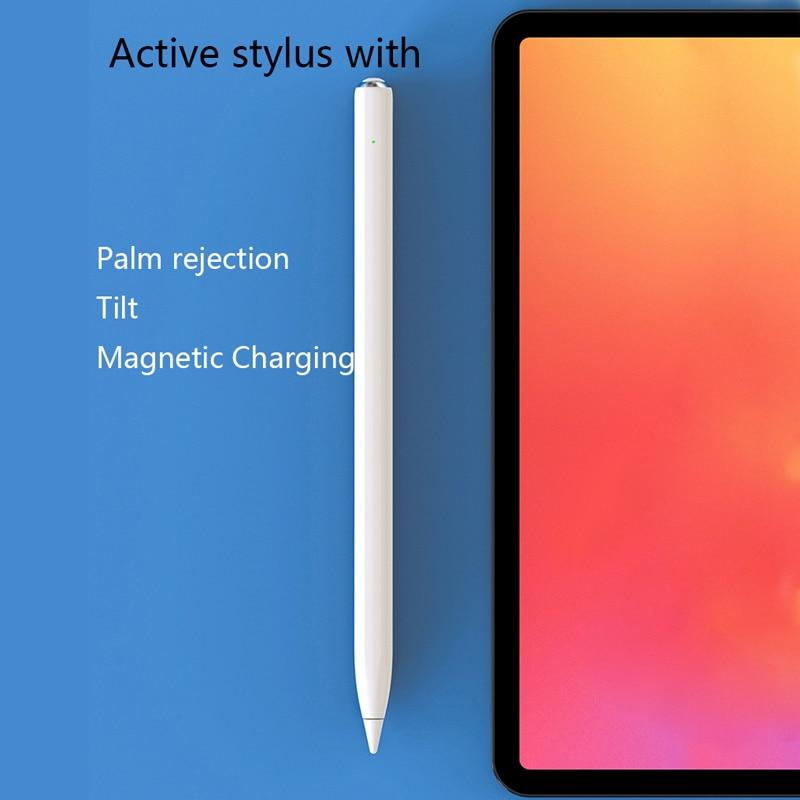 Novo design de inclinação magnética ativa caneta digital stylus com rejeição de palma substituível ponta fina stylus para ipad