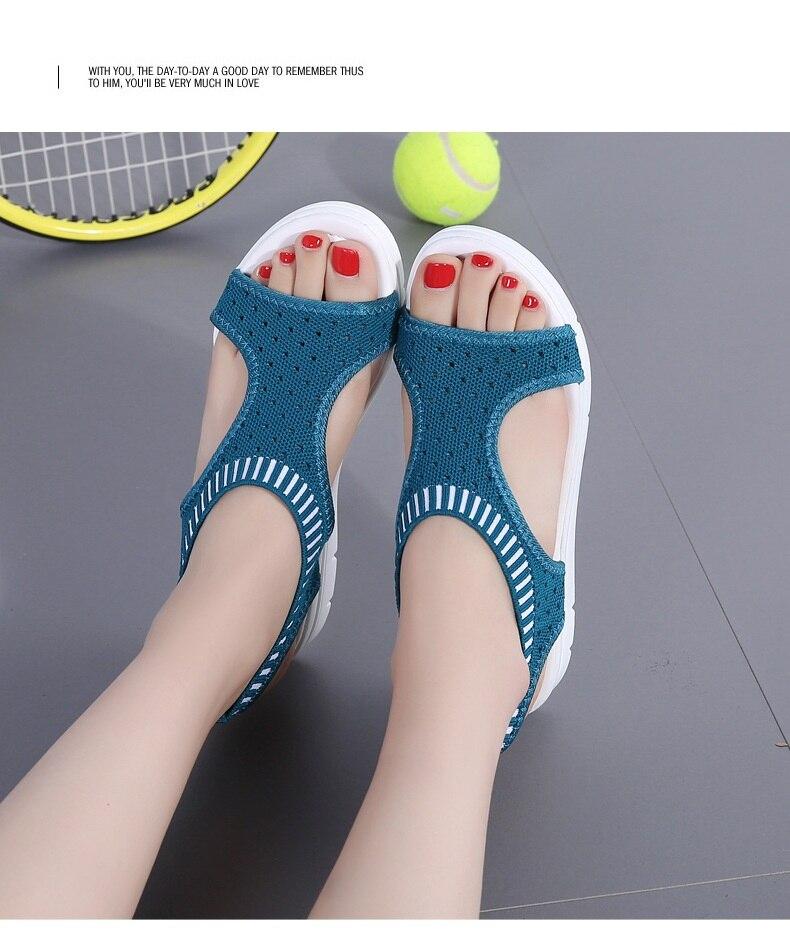H9ca4c5d1f45d46f5a15da0ccf3f48e5aj WDZKN 2019 Sandals Women Summer Shoes Peep Toe Casual Flat Sandals Ladies Breathable Air Mesh Women Platform Sandals Sandalias