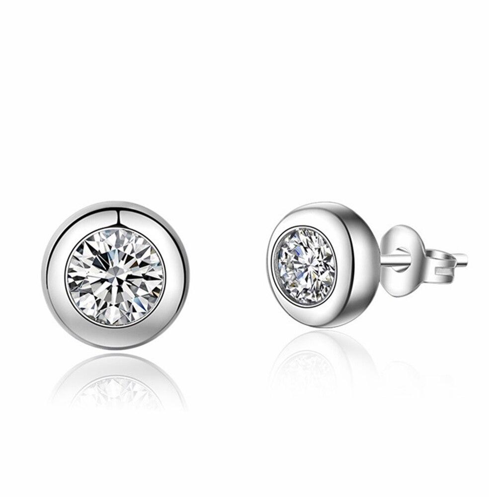 925 sterling silver earrings stud white zircon earrings Micro Inlay cubic zirconia stud earrings for women 2019 black friday dea