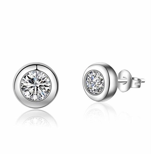 925 sterling silver earrings stud white zircon earrings Micro Inlay cubic zirconia stud earrings