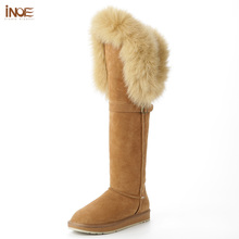 Fox-Fur-Boots INOE Long Shoes Buckle Sued Over-The-Knee Winter Fashion Real with