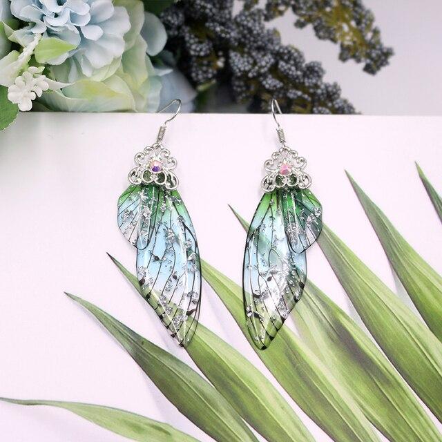 Handmade Fairy Simulation Wing Earrings Insect Butterfly Wing Drop Earrings Foil Rhinestone Earrings Romantic Bridal Jewelry 4