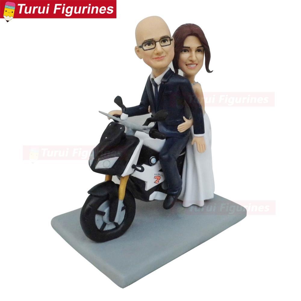 Ev ve Bahçe'ten Statü ve Heykelleri'de Baba ve oğul motosiklet sürme tema doğum günü pastası toppers yetişkin töreni bebek heykeller title=