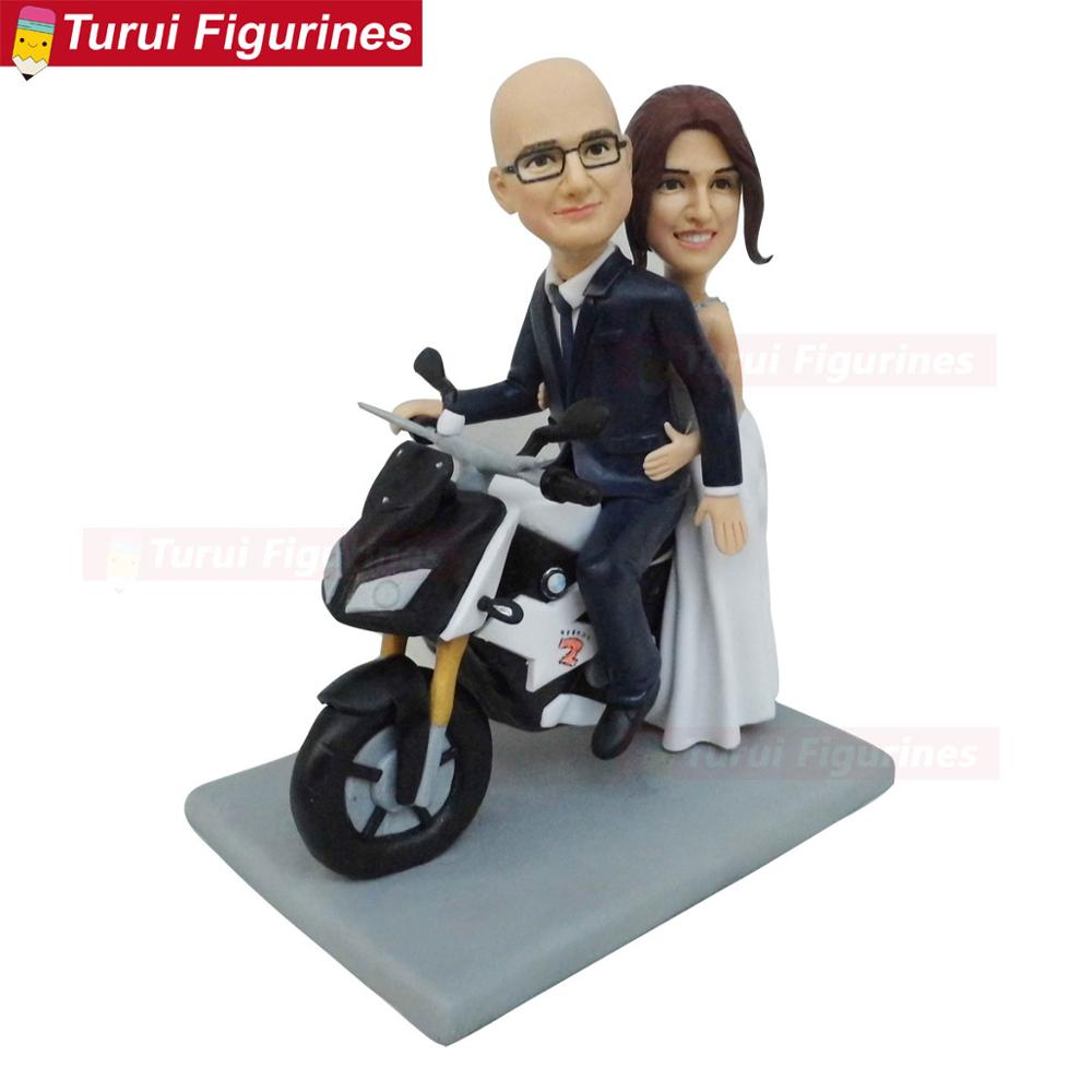 Couple Bride Groom Riding On A Motorcycle Wedding Ceremony Cake Toppers Stands Figurines Handmade Clay Dolls