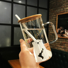 Glass Cute Creative Large Capacity Heat-Resistant Drinking Cup Office Female Cartoon Mug With Lid Spoon