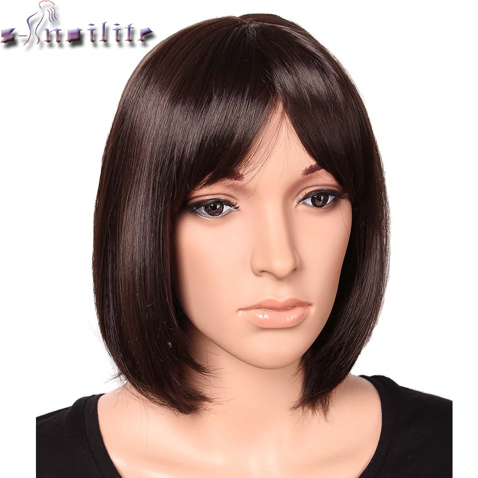 SNOILITE 12 Inch Short Straight BOB Wigs Women's Heat Resistant Synthetic Wig Black Brown Red 11 Colors Women Short Wig