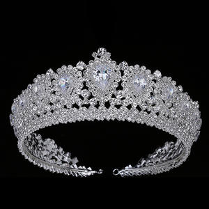 Hadiyana Tiara Crowns Crystal Bling Diadem Pageant Woman Zirconia New with Elegant And