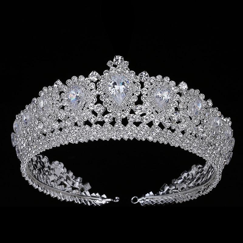 Новинка, шикарная свадебная корона, диадема, тиара с кристаллами из циркония, элегантные женские тиары и короны для конкурса, вечевечерние ...