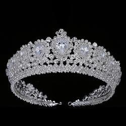 Hadiyana New Bling Wedding Crown Diadem Tiara With Zirconia Crystal Elegant Woman Tiaras and Crowns For Pageant Party BC3232