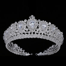 Hadiyana New Bling Wedding Crown Diadem Tiara With Zirconia Crystal Elegant Woman Tiaras and Crowns For Pageant Party BC3232(China)