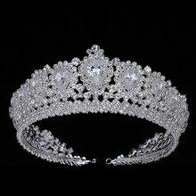 Hadiyana nowy Bling korona ślubna Diadem Tiara z cyrkoniami kryształ elegancka kobieta Diadem i korony na korowód Party BC3232