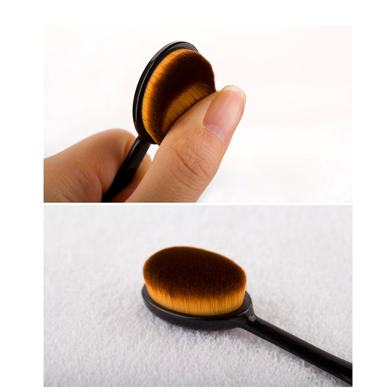 Women Makeup Brushes Soft Oval Cosmetic Makeup Toothbrush Pro Blush Face Powder Foundation Brush Makeup Tool image