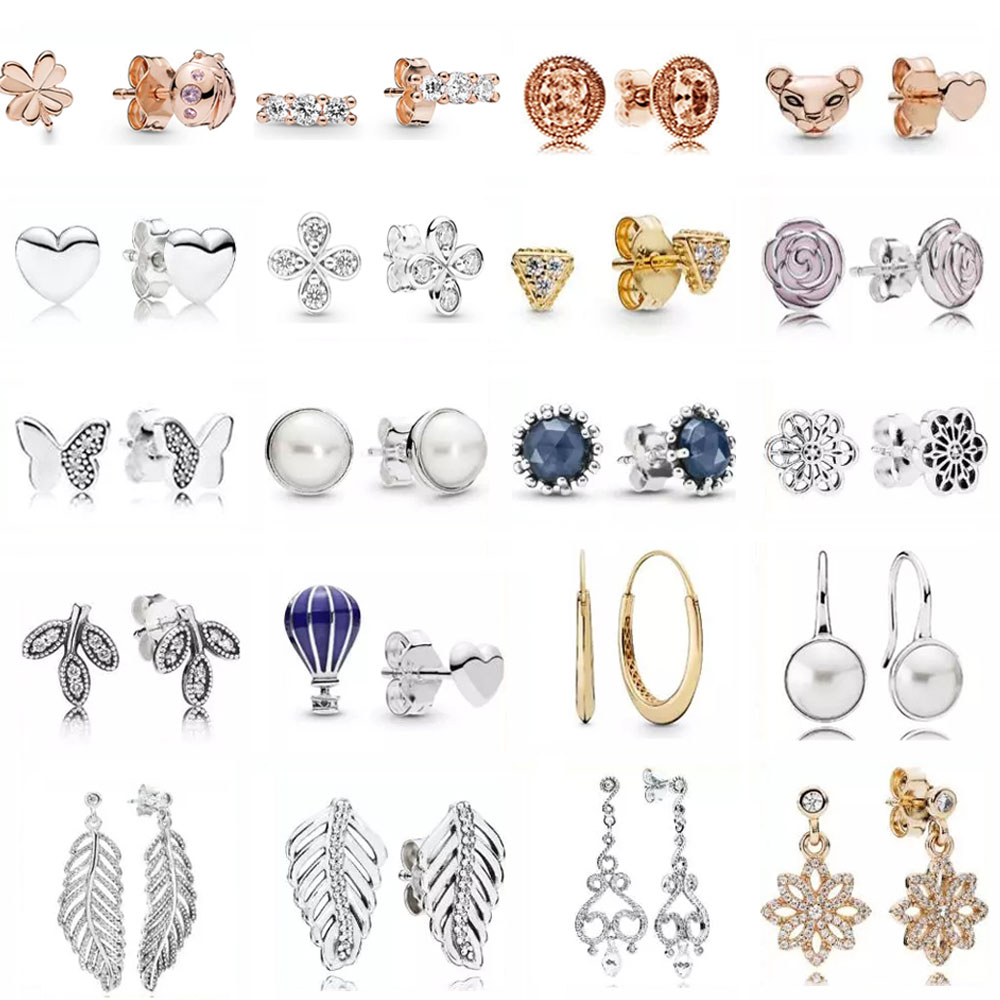 PDB  ED  18  925 Sterling Silver  Fashion Elegant Earrings With Original Logo Ladies And Girls Jewelry Gift Wedding Ball Jewelry