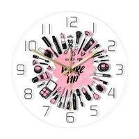 일어나 메이크업 화장품 컬렉션 아크릴 벽시계 뷰티 살롱 비즈니스 벽 아트 장식 시계 비 Ticking 벽시계