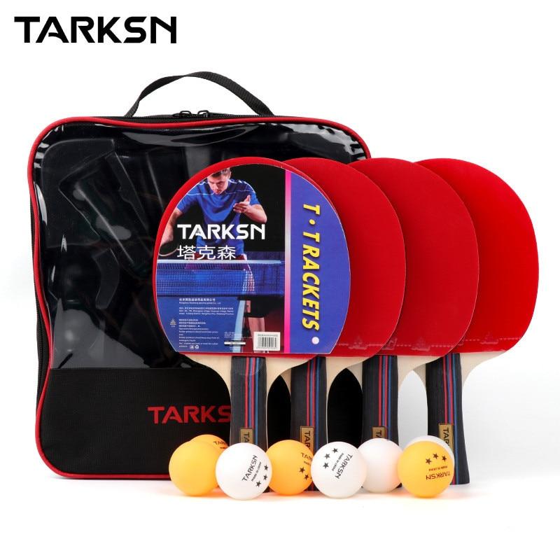 TARKSN 4 Pcs Profesional Ping Pong Racket Set 8 Table Tennis Balls Racket Set With Bat Case Poplar Wood Blade 8
