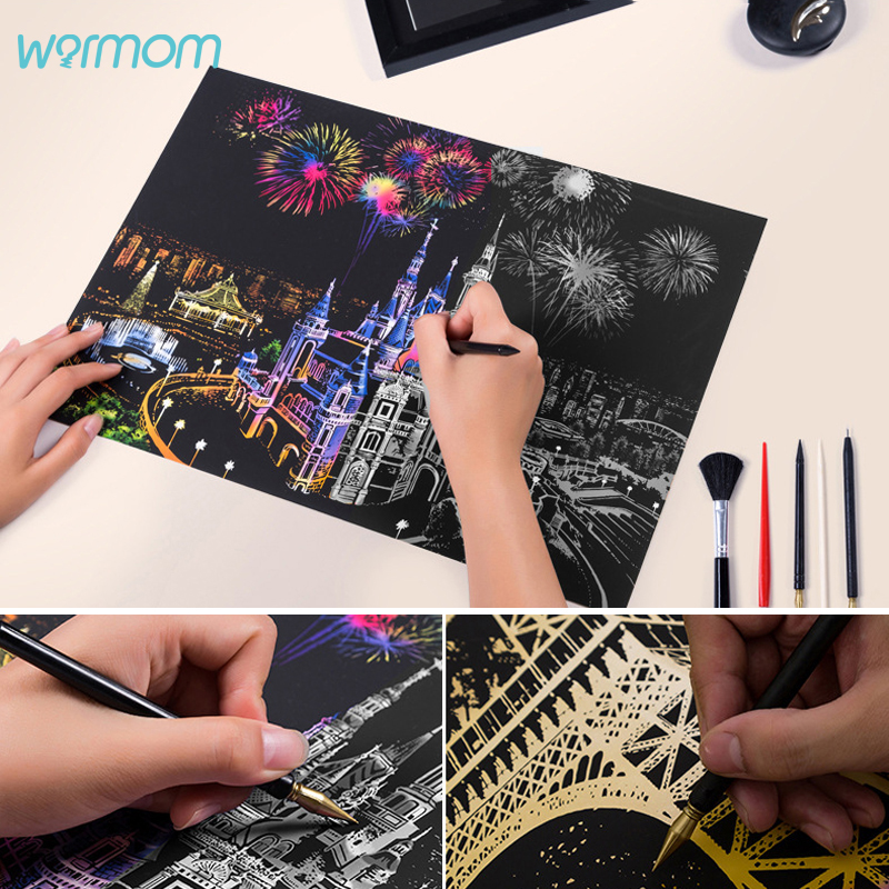 Warmom Kids DIY Scratch Paintings Creative Toys Magic Seascape Art Drawings Baby Colorful Graffit Educational Toys Birthday Gift