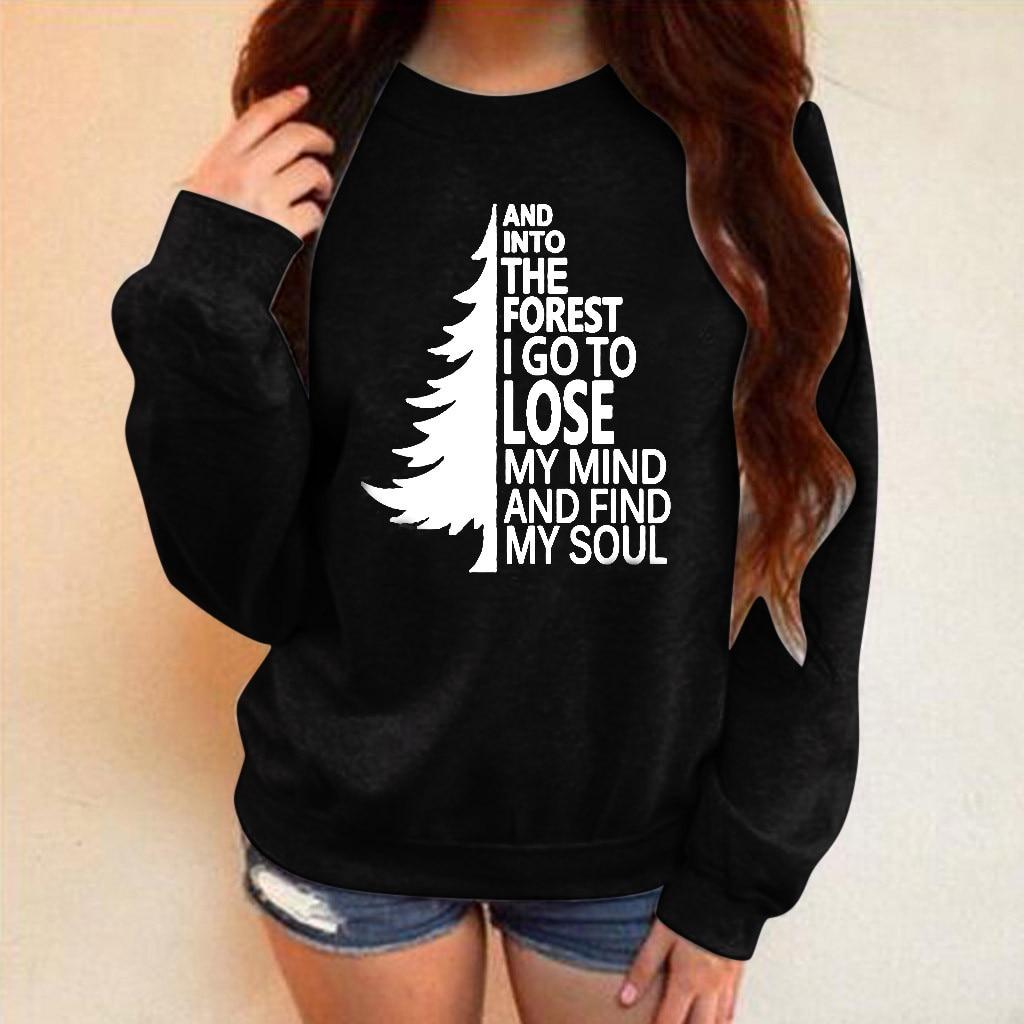 Womens winter letter printing sweatshirt long-sleeved O-neck No cap plus velvet wild warm womens sweatshirt blouses Tops 2020
