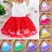 цена на Baby Gril Princess Dress Toddler Infant Bowknot Tutu Petals Tulle Dresses Baby Girls Flower Gown Dress