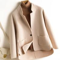 2019 Autumn Winter Fashion Short 100% Wool Cashmere Women's Coats Double Side Wool Coat Female Casaco Feminino
