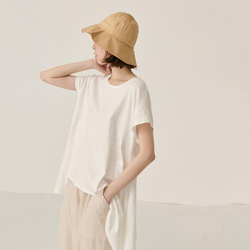 [EAM] Women White Asymmetrical Hem Split Temperament  T-shirt New Round Neck Long Sleeve  Fashion Tide  Spring Summer 2020 JY443 4