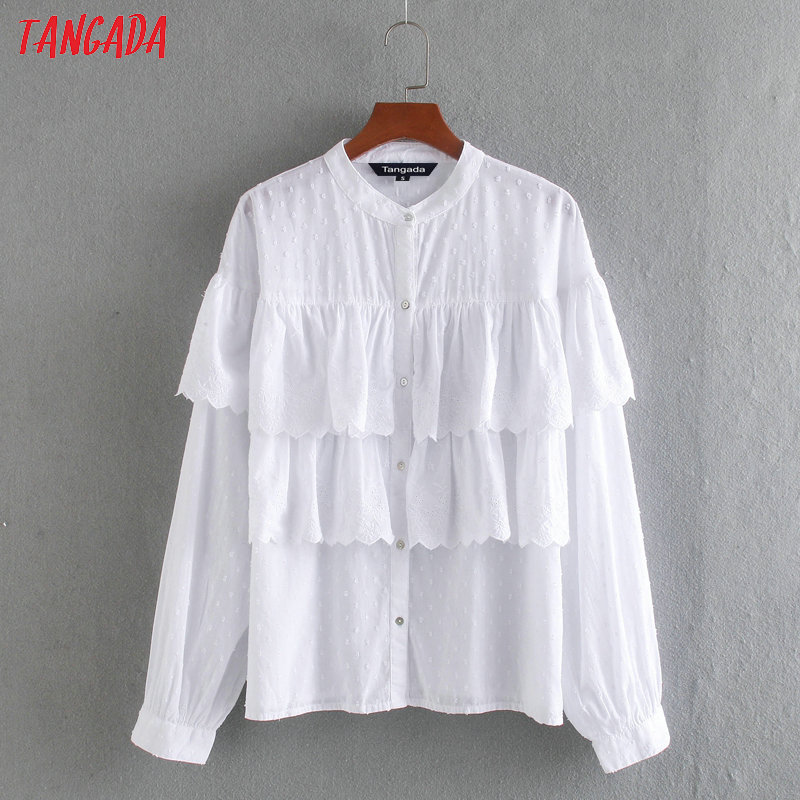 Tangada Women Ruffle Embroidery White Cotton Shirts Long Sleeve Solid O-neck Elegant Office Ladies Work Wear Blouses CE232