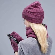 Hat Scarf Glove-Set Touch-Screen-Gloves Winter Women And for Boy Warm-Suit Velvet Three-Piece