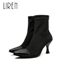 Liren 2019 Microfiber Winter Women Fashion Pointed Toe Ankle Slip-on Boots Sexy Lady Ankle Boots Pointed Wrapped Toe Boots цена 2017