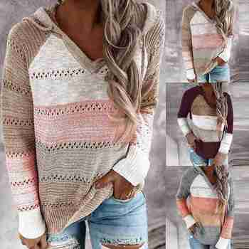 2020 Autumn Winter V Neck Patchwork Hooded Sweater Women Casual Long Sleeve Knitted Sweater Top Striped Hollow Pullover Jumpers twist front v neck striped top