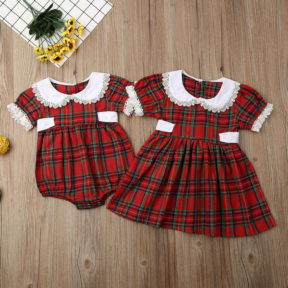 Sister Christmas accessory clothes little sister romper big sister dress short sleeve bud bow plaid kid girl clothes