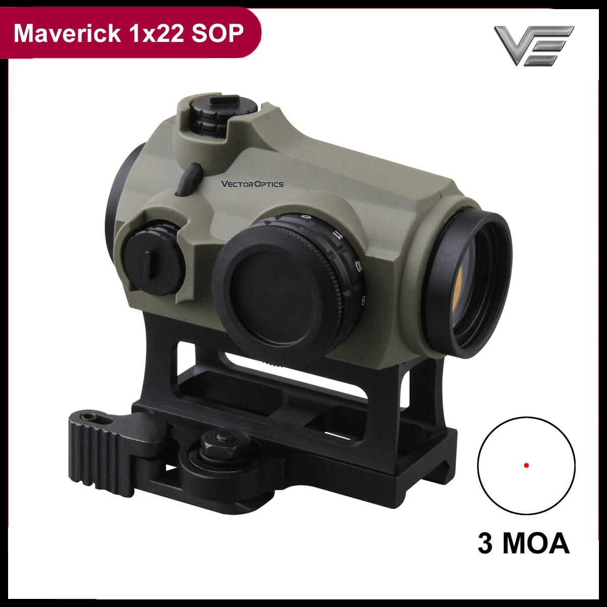 Vektör optik Maverick 1x22 SOP Red Dot kapsam avcılık optik Sight koyu toprak kauçuk kapak 3 MOA IPX6 taktik kapsam QD dağı