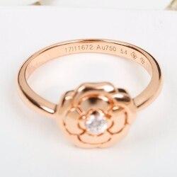 Top C czysta 925 Sterling Silver biżuteria dla kobiet kamelia Rose Rings diamentowe wesele biżuteria zaręczyny różowe złoto kwiat luksus