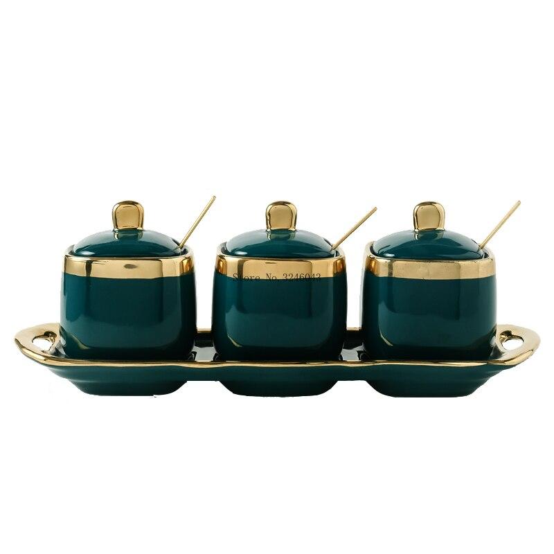 Купить с кэшбэком Four sets of household equipment for four cans of light jade ceramic sugar in northern Europe Ceramic seasoning pot jars