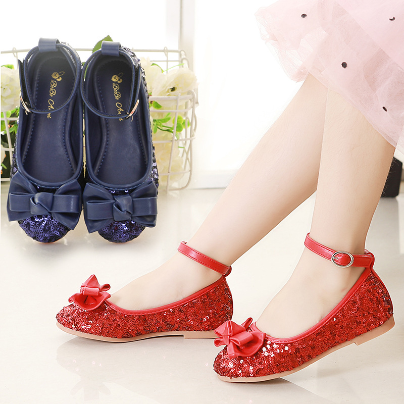 New Girl Princess Shoes Children's Spring Dance Bright Red Sequin Butterfly Wedding Ceremony Casual Single Shoes