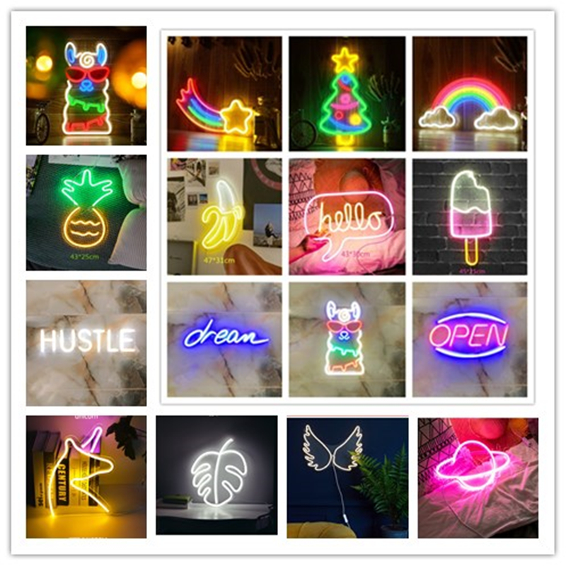 Wall Hanging LED Neon Light Sign Cool Lights Art Wall Bar Home Holiday Business Words Decorations USB Powered Neon Lamp 24 Kinds