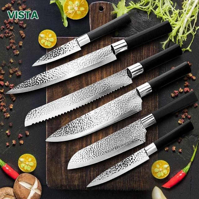 Juego de cuchillos de cocina japoneses, juego profesional de cuchillos de Chef de acero inoxidable, cuchillo de carnicero, Cuchillo de pelado de frutas, 6 unidades 1