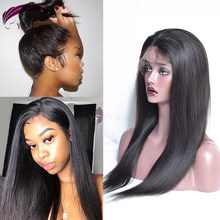 Yeahwigs Yaki Straight 370 Lace Frontal Wig Remy 150% Density 360 Yaki Human Hair Wig(China)