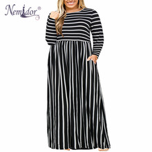 Nemidor Casual Dress Pockets Long-Sleeve Vintage 7XL Plus-Size Women 8XL 9XL Hot-Sales