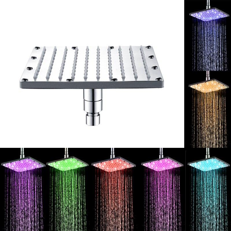 RLHQG Newest Shower Head Square Led Colorful Spray Stainless Steel 6/8/10/12inch Sprinkler Head Temperature Sensor Led Light