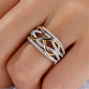 Fashion Infinity Love Rings Rose Gold Heart Rings For Women Two-tone Wedding Cubic Zircon CZ Crystal Rings