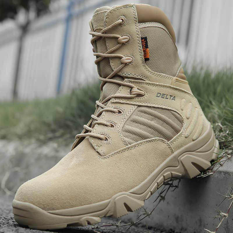 Chiến Thuật Quân Đội Nam Giày Lực Lượng Đặc Biệt Da Chống Thấm Nước Sa Mạc Chiến Đấu Mắt Cá Chân Khởi Động Quân Đội Làm Việc Giày Plus Size 39-47