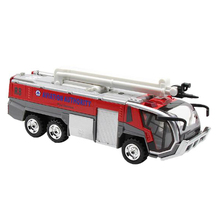 цена на 1:32 Airport Fire Truck Fire Engine Electric Die-Cast Engineering Vehicles Car Model Toy with Sound Light Pull Back Gifts
