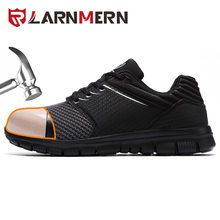 LARNMERN Men's Work Safety Shoes Steel Toe Construction Sneaker Anti-smashing Reflective Lightweight Breathable Shoes For Men(China)