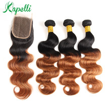 Ombre Body Wave Bundles With Closure Indian Human Hair Weave Blond Non Remy 1b/30 Lace