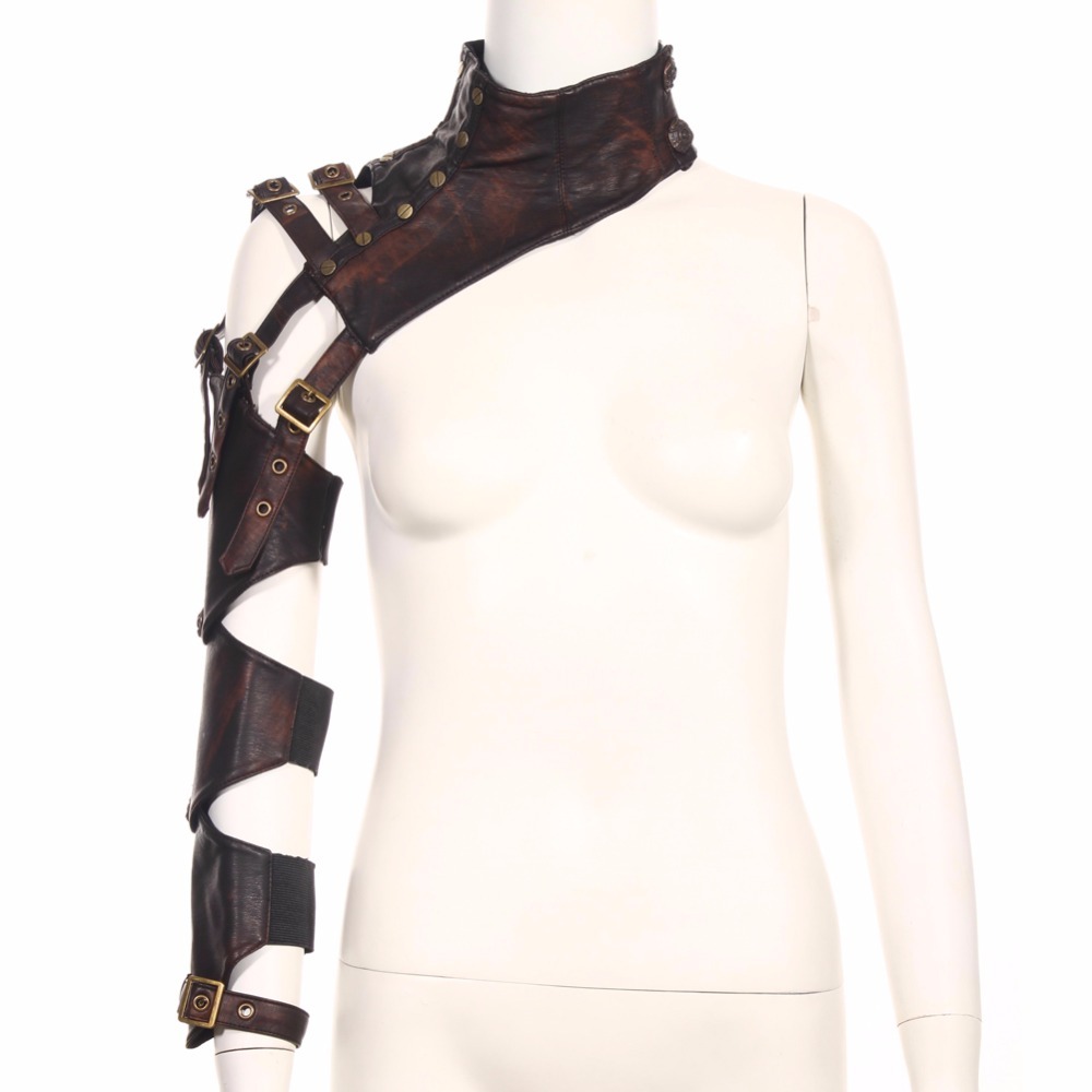 Steampunk Female PU Leather Arm Warmers Long Fingerless Arm Warmer With Belt Brown Arm Sleeves For Arm Protection