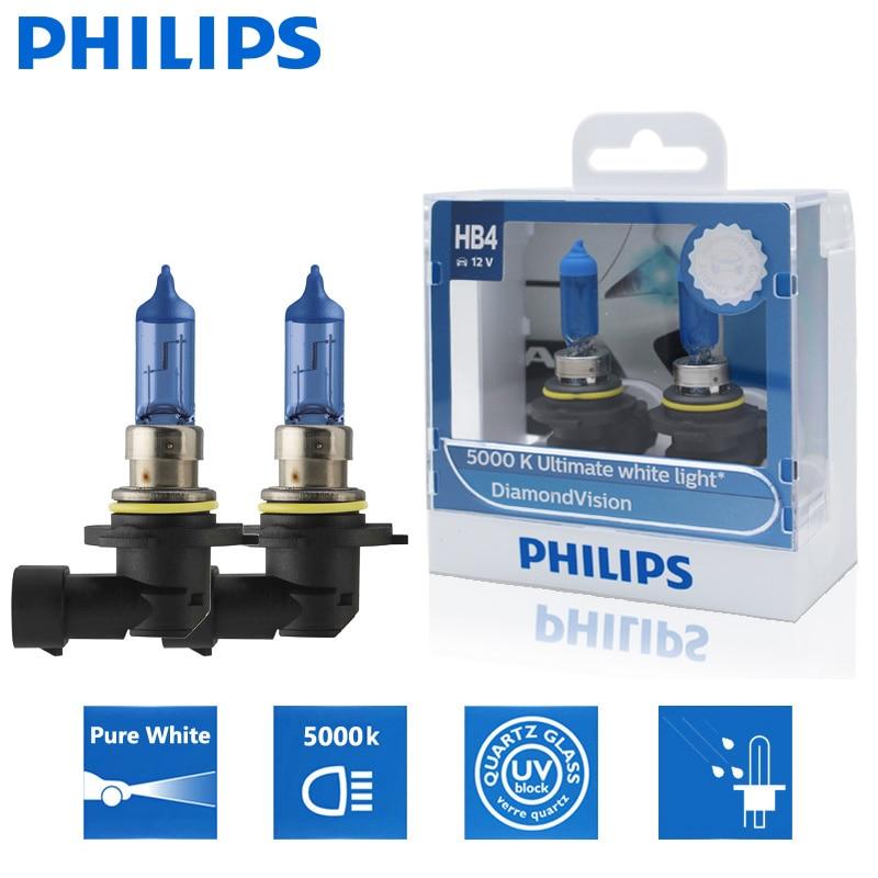 2 шт., автомобильные галогенные лампы Philips HB4 9006 12 В 55 Вт P22d Diamond Vision 5000K